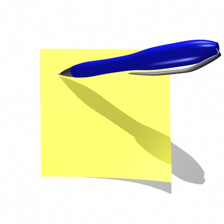 notelet: yelow sticky note with blue pen isolated on white