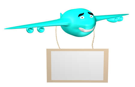 Cartoon smiling isolated airplane with panel