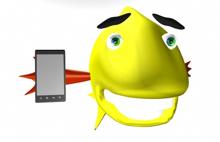 Happy fish advertise a smartphone Stock Photo