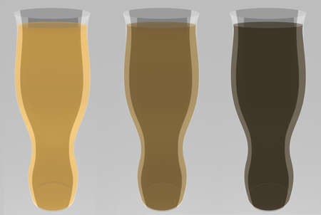 Isolated lager, dark and black beers simple Stock Photo