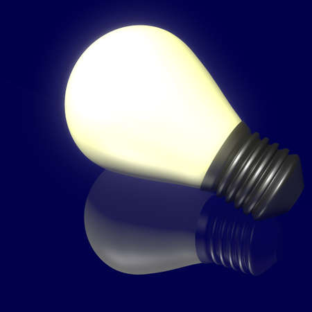 Shines bulb reflection on dark background Stock Photo