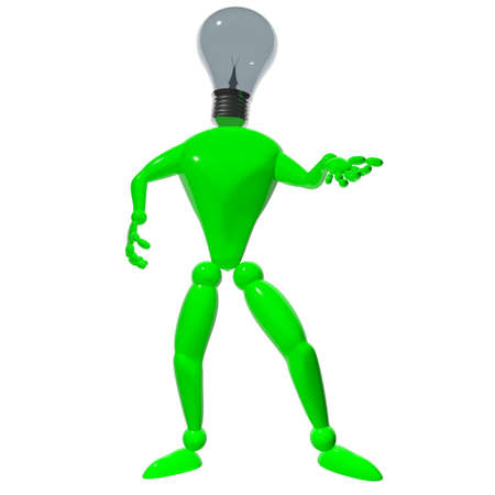 Green man  bulb head isolated 3d rendered photo