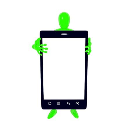 Homem com smartphone preto isolado no branco 3d