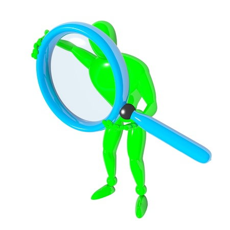 3d man with blue magnifier loupe isolated rendered Stock Photo - 17447928