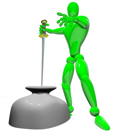 coping: Concept coping man with sword in stone Stock Photo