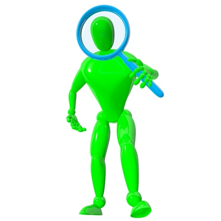 Homem 3d com azul lupa isolado prestados Banco de Imagens