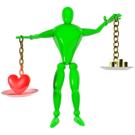 3d rendered human with scale concept love is better than money Stock Photo