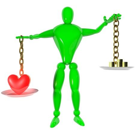 Humano 3d rendeu com escala conceito do amor
