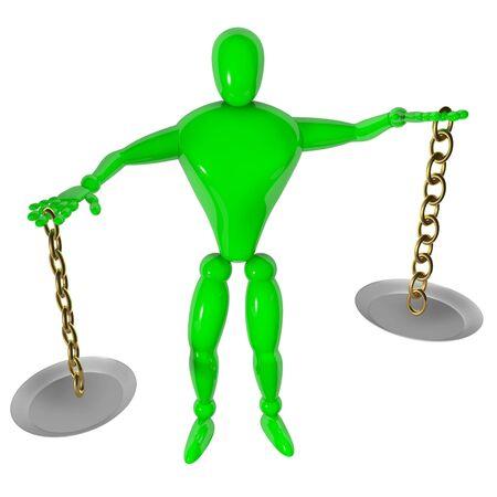 imbalance: Onbalans geïsoleerde 3d mens met schaal Stockfoto