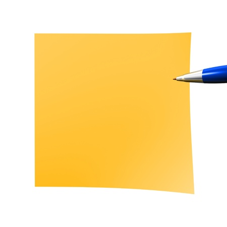 notelet: orange empty sticky note isolated on white Stock Photo