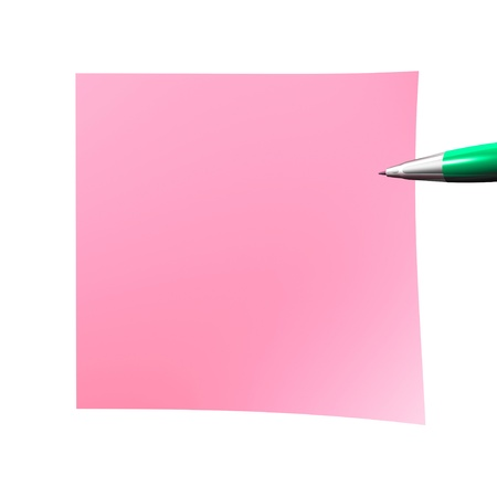 pink empty sticky note isolated on white