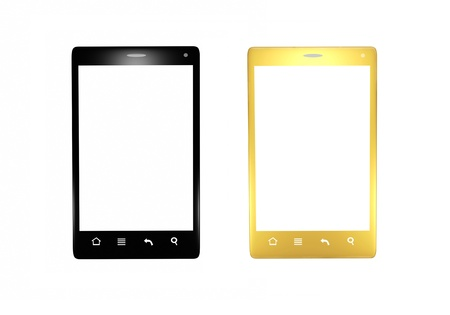 screen type: Isolated black and gold smartphones