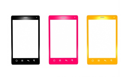 Gold, black and pink smartphones