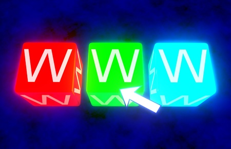 world wide web: www on blue cubes Stock Photo
