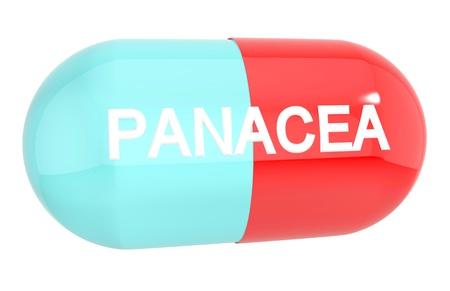 pastil: PANACEA pill capsule isolated on white background Stock Photo