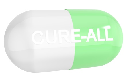troche: Cure-all pill capsule isolated on white background