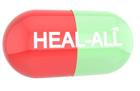 troche: Heal-all capsule isolated on white background