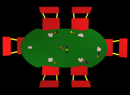 a plan view of cards gambling on a table rendered photo