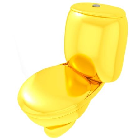 Isolated golden toilet bowl photo