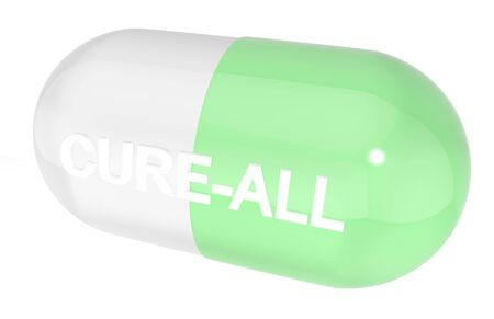 troche: Cure-all capsule isolated on white background