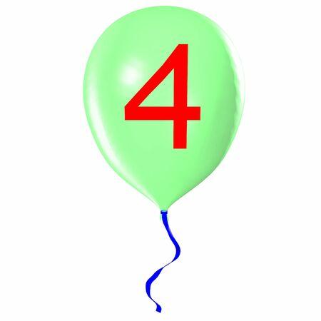 Number 4 on balloon
