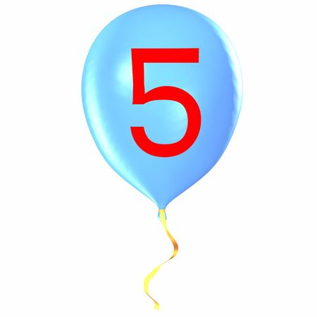 Number 5 on balloon Stock Photo