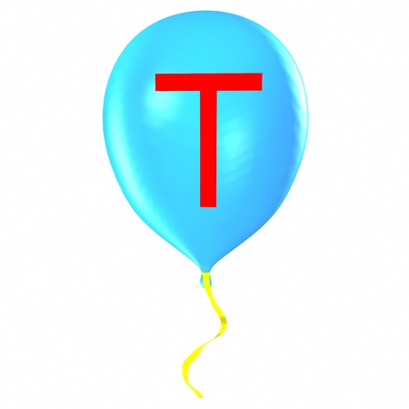Letter T on balloon Stock Photo - 19560105