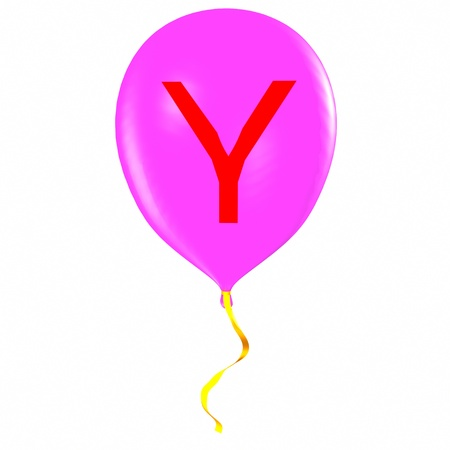 Letter Y on balloon Stock Photo