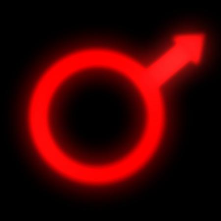 Red Symbol mars isolated on black