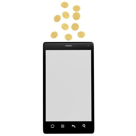 Telephone makes money isolated on white photo