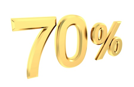 Ouro 70 por cento isolado no branco Banco de Imagens
