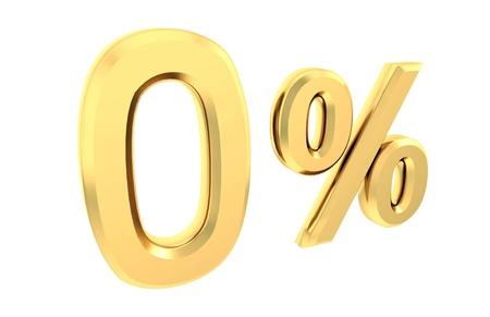 Ouro 0 por cento isolado no branco Banco de Imagens