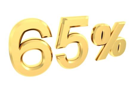 Ouro de 65 por cento isolado no branco Banco de Imagens