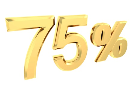 Ouro 75 por cento isolado no branco