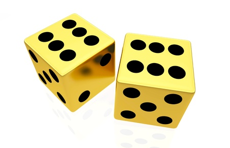 six objects: Gold dice isolated on white background