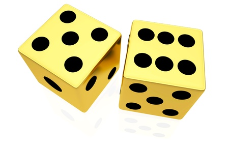 Gold dice isolated on white background photo