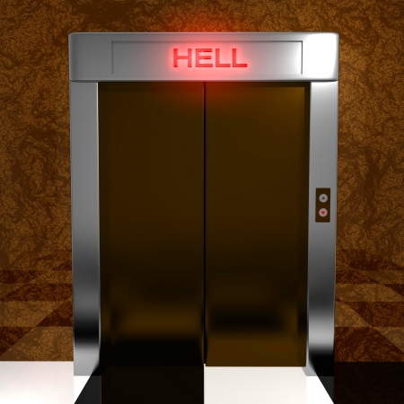 Rendered elevator to hell