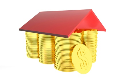 3d coins house rendered Stock Photo