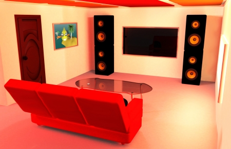home cinema: Morning home interior 3d rendered