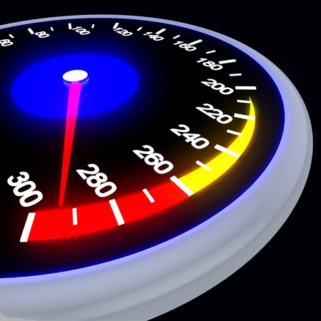 Speedometer isolated on black photo