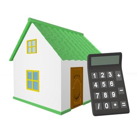 Isolated house calculator photo