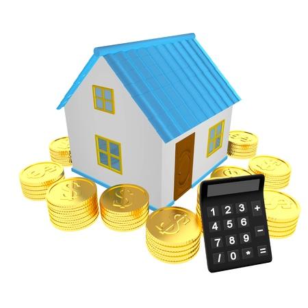 Casa dinheiro e calculadora