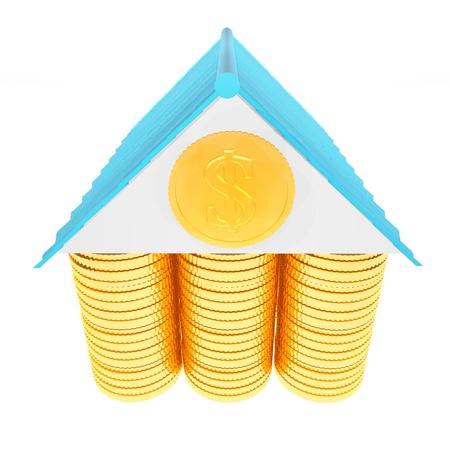3d casa dinheiro conceito isolado