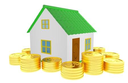 Casa riqueza Conceito 3d isolado Banco de Imagens