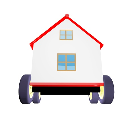 House on wheels 3d photo