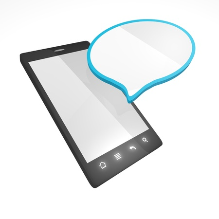 Smartphone with empty blue cloud