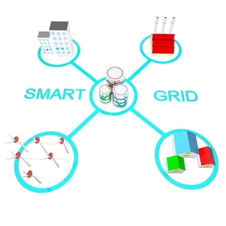 grid: Concetti di smart grid Archivio Fotografico