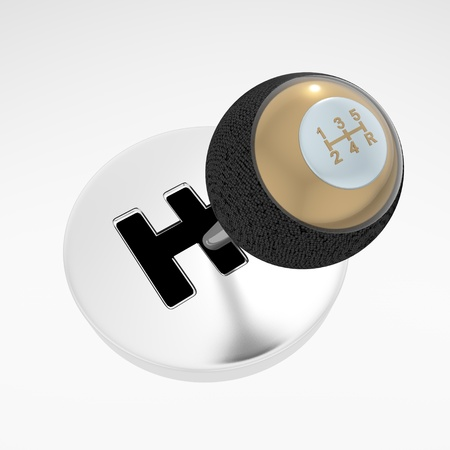 3d gearshift isolated on white photo