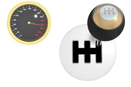 reversing: Gearshift & speedometer isolated on white 3d Stock Photo