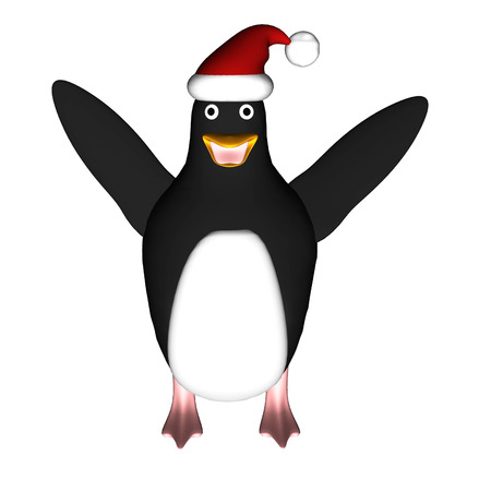 Penguin in christmas hat on white background